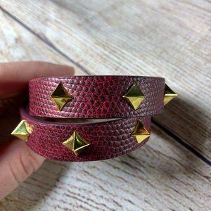 Vince Camuto leather studded double wrap bracelet